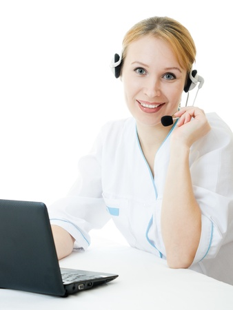 headset help: A woman doctor operator on a white background.