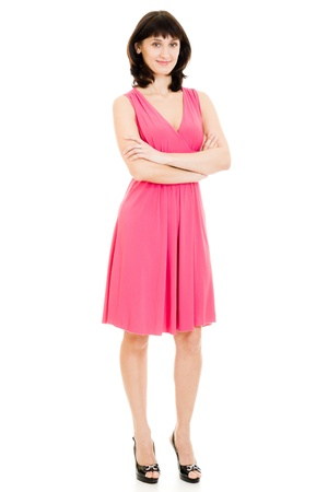 The woman in red dress on a white background. Stock Photo - 11901685
