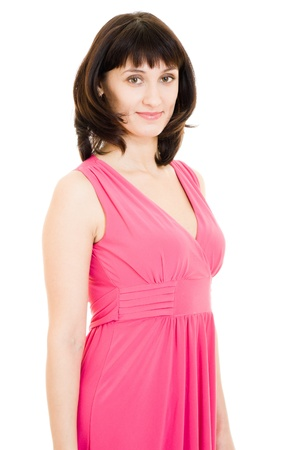 The woman in red dress on a white background. Stock Photo - 11902286