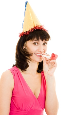 Happy Woman in a hat on a white background. photo