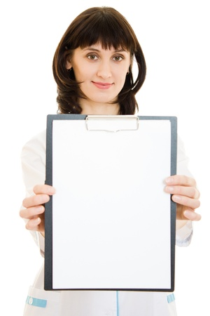 Woman doctor with an advertising tablet on a white background. photo