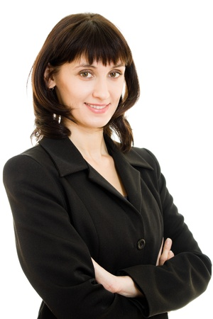 Businesswoman with folded hand against white background. photo