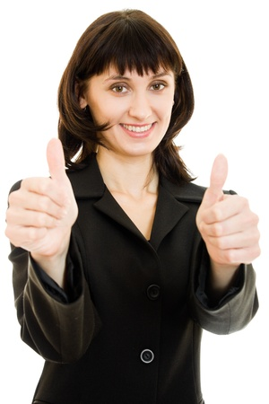 Close-up of smiling businesswoman showing thumbs up isolated photo
