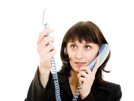 Beautiful smiling business woman talking on the phone photo