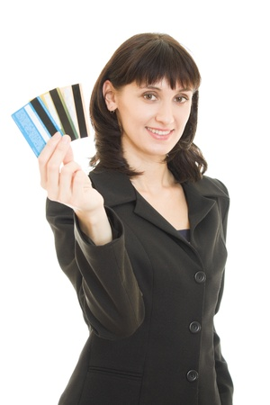 Woman with many different credit cards. Isolated on white. Stock Photo - 11903025