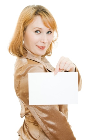 Happy  woman showing blank signboard, isolated over white background photo