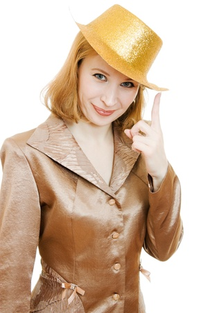 Business woman in a festive gold hat on a white background. photo
