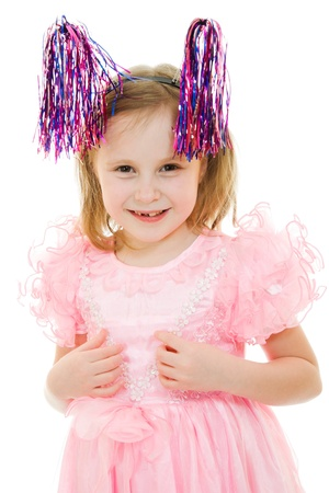 Funny girl in a pink dress with antennae on their heads on a white background. photo