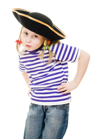 puffed cheeks: Terrible pirate girl in shirt and hat on a white background.