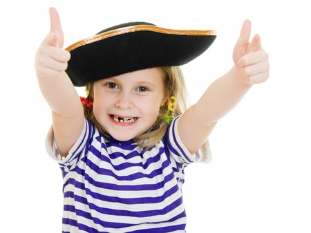 Terrible pirate girl in shirt and hat on a white background. photo