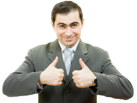 A successful businessman gesture shows okay on a white background. Stock Photo - 12035403