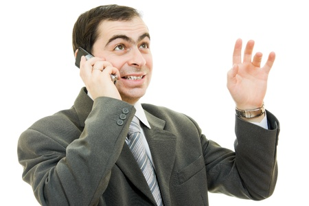 Businessman talking on the phone on a white background. photo
