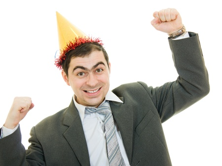 Happy businessman in the hat on a white background. photo