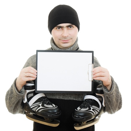 Men with skates with a blank sheet of paper on white background. Stock Photo - 12388008