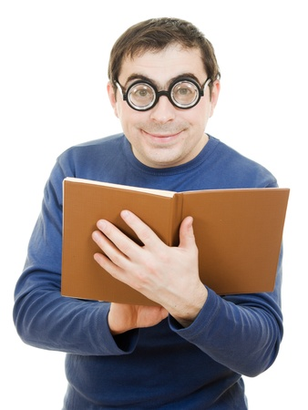 Student in glasses reading a book on white background