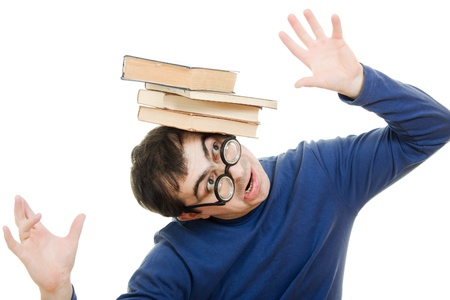 Student in glasses with a book on her head on white background photo