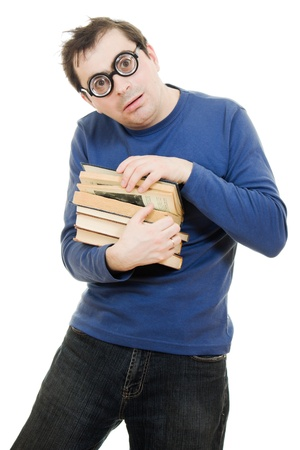 Student in glasses carefully pressed to his breast a book on white background Stock Photo