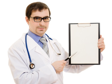 Male doctor with a blank sheet of paper on a white background. photo