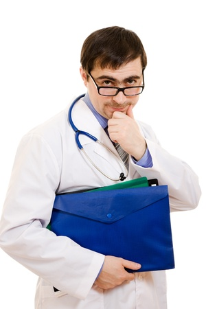 The doctor thinks in glasses on a white background. photo