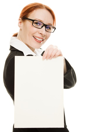 Businesswoman in glasses with the red hair on a white background. photo