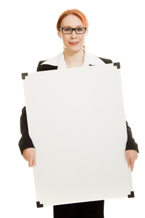 Businesswoman with glasses holding blank whiteboard sign. photo