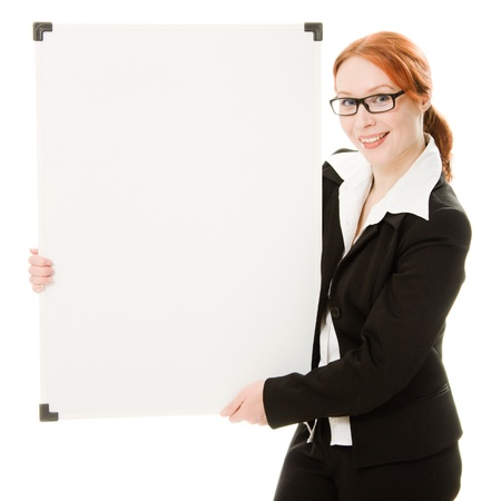 Businesswoman with glasses holding blank whiteboard sign.