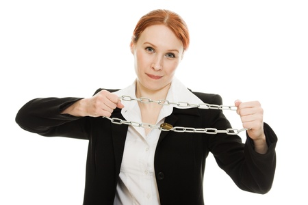 Businesswoman tearing the chain hands on a white background  photo