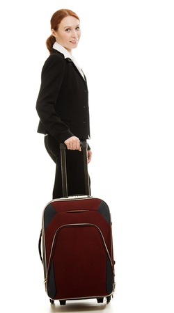 Businesswoman with a suitcase on a white background  photo