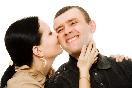 lip kiss: Love with each other man and woman on a white background