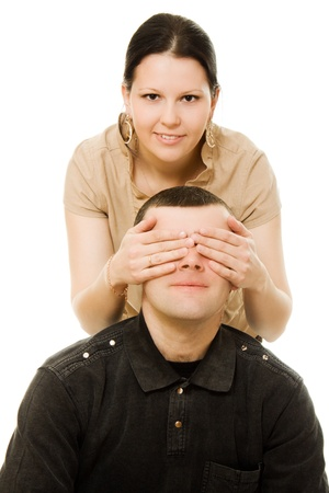 close your eyes: Love with each other man and woman on a white background