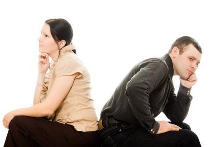Quarrel between men and women on a white background. photo