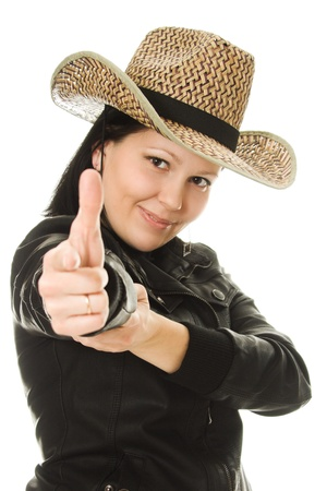 Cowgirl gesture shows okay on a white background. photo