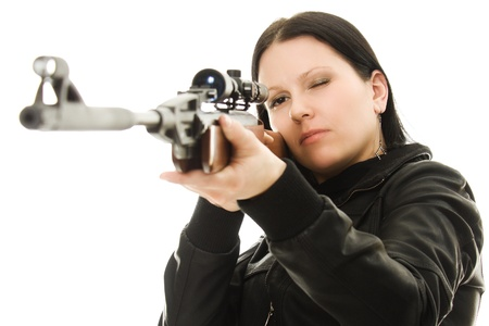 gun sight: Cowgirl with a gun on a white background.