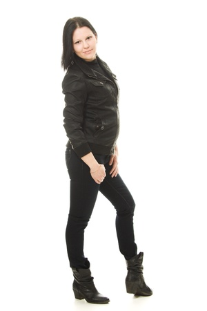 Cowgirl in black on a white background. photo