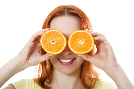 Funny girl portrait, holding oranges over eyes on a white background. photo