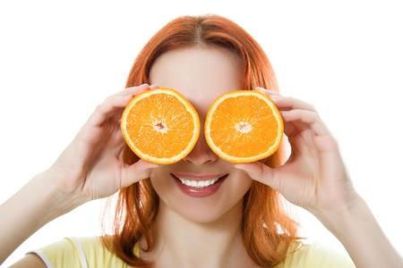 Funny girl portrait, holding oranges over eyes on a white background. photo
