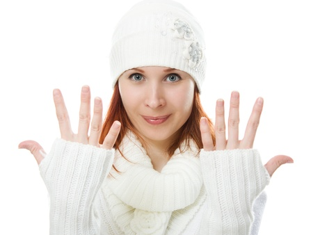 Beautiful women in warm clothing on a white background. photo