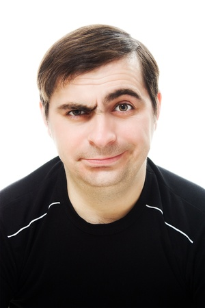 One man smiling and sad on a white background