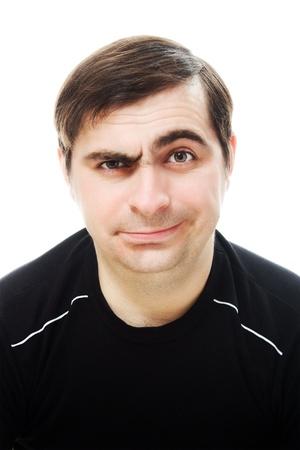 caras tristes: Un hombre sonriente y triste sobre un fondo blanco