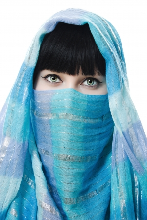 burqa: Close up picture of  woman wearing a veil on a white background. Stock Photo