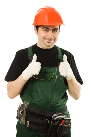 Male worker with an electric drill on a white background photo
