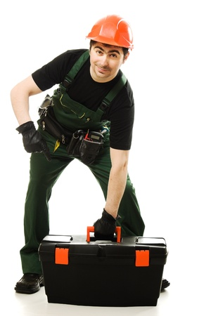 technical service: Service man wearing helmet and overall holding black toolbox over white