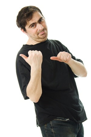 man in a black T-shirt points a finger behind his back on white background photo