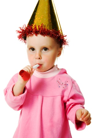 famale: A girl in a pink dress and a hat on his birthday on a white background.
