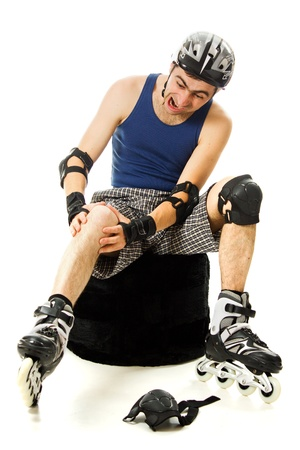 man in roller skates on a white background photo