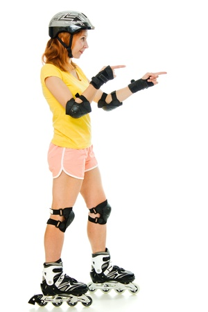 kneecap: beautiful young woman on roller skates on a white background.