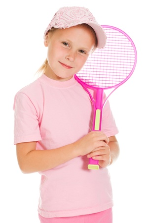 little girl with plays tennis  on a white background photo