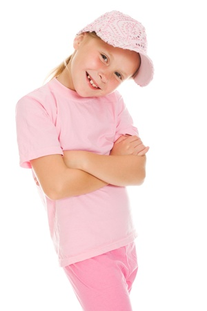 girl in pink sportswear on white background Stock Photo - 14779322