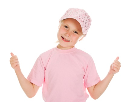girl in pink sportswear on white background Stock Photo - 14779278