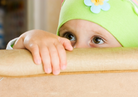Offended by a child who is hiding. Stock Photo